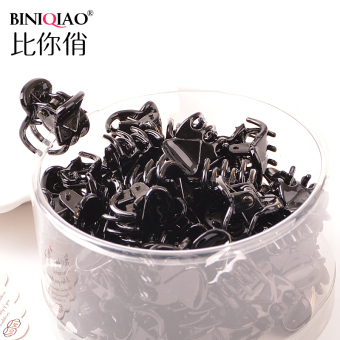 Korean hair accessories small clip small bangs clip (4 # black-large 50 pcs [about 6cm])