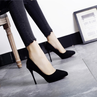 Korean-style Black Spring and Autumn New style pointed shoes work shoes (Black)