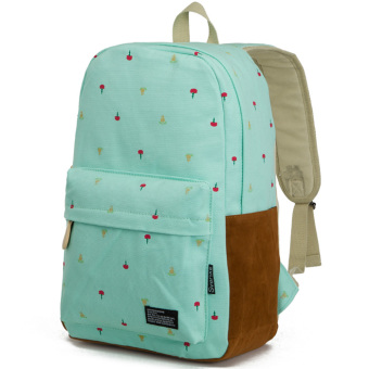 Korean-style canvas men and women high school computer bag backpack (Water blue)
