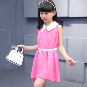 Harga Korean-style children vest skirt girls dress (Rose color (belt included))