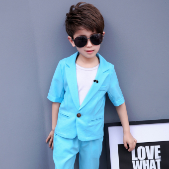 Korean-style children's small suit short-sleeved summer 2017 New style boy dress large children baby boys suit (Sky blue color)