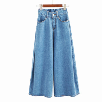 Korean style cool women high-waisted denim pants wide leg pants