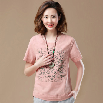 Korean-style cotton female loose Top Print cotton T-shirt (Leather red)