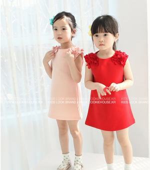 Korean-style cotton girls vest skirt dress (Red 06-01) (Red 06-01) - 2