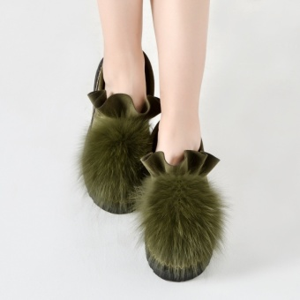 Korean-style cotton scoop shoes plush shoes women live (Dark Green)