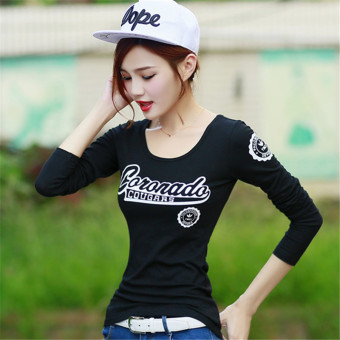 Korean-style cotton Slim fit round neck fashion Top New style long-sleeved t-shirt (Black)