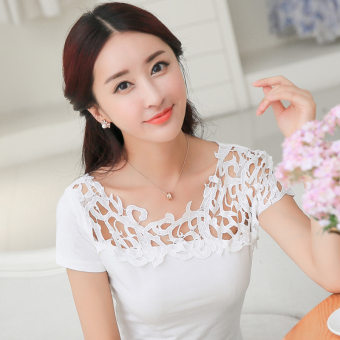 Korean-style cotton Slim fit slimming porous small shirt T-shirt (White)