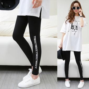 Korean-style cotton thin lettered bottoming pants