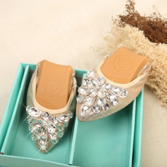 Korean-style crystal New style Spring and Autumn pointed flat shoes (Gold/Peacock flower)