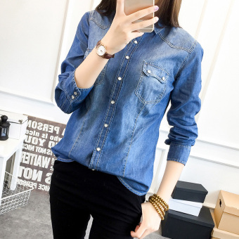 Korean-style denim female long-sleeved Slim fit women's Shirt shirt (Dark blue) (Dark blue)