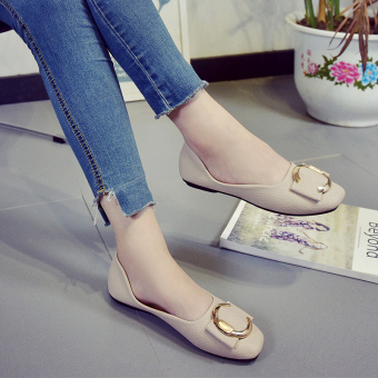 Korean-style Easy-matching Women's Square Head Shallow Mouth Flat Shoes (Beige)