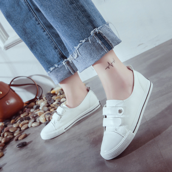 Korean-style female autumn New style leather canvas shoes white shoes (White)