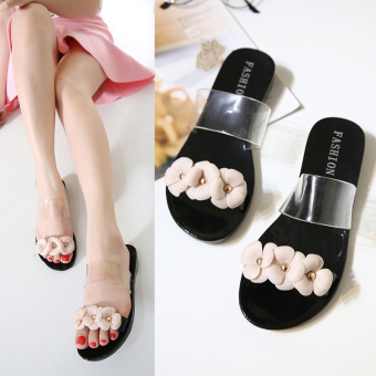 Korean-style female flat heel sandals slippers (Black)