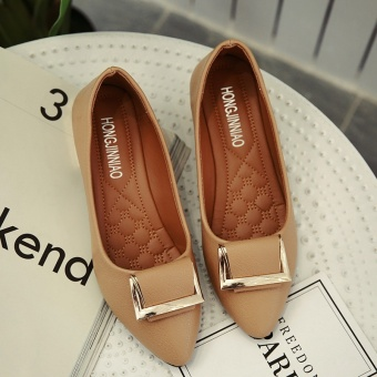 Korean-style female flat moccosins shoes (Camel metal square buckle Models)