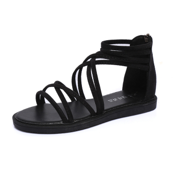 Korean-style female flat student shoes sandals (Black)