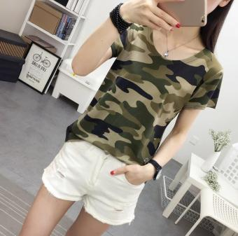Korean-style female New style short-sleeved camouflage T-shirt