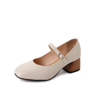 Korean-style female New style square head grandmother shoes Shoes (Beige)