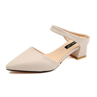 Korean-style female pointed A-line slipper shoes (Beige) (Beige)
