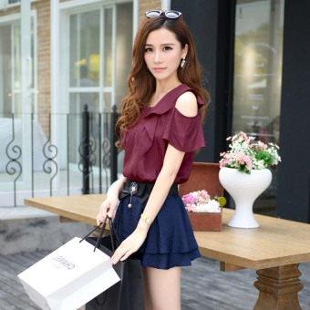 Korean-style female round neck off-the-shoulder solid color Top chiffon shirt (Purplish red) (Purplish red)