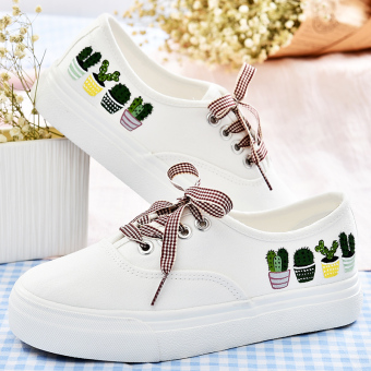 Korean-style flat heel student BayMini shoes hand-painted shoes (Artistic succulent)
