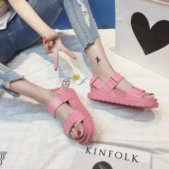 Korean-style flat muffin magic stickers thick bottomed sandals (Pink)