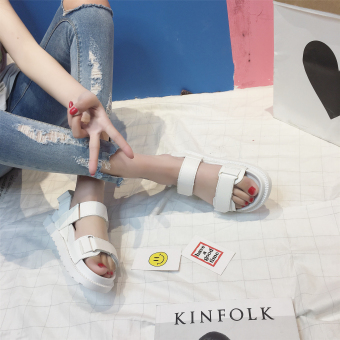 Korean-style flat muffin magic stickers thick bottomed sandals (White)