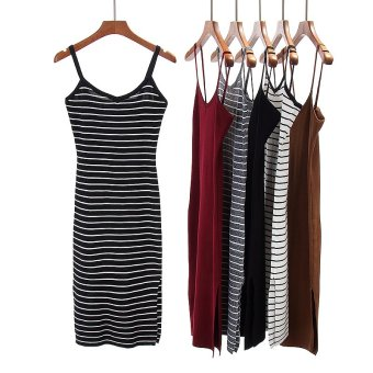 Korean-style knitted spring and summer New style dress (Whitestripes)