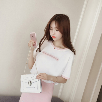 Korean-style loose Slimming effect Short sleeve compassionate shirt round neck white short-sleeved t-shirt (Pink)