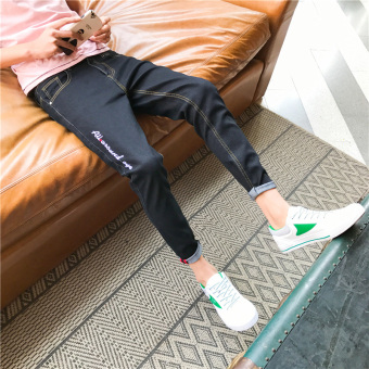 Korean-style men Slim fit men's skinny pants jeans (Black)