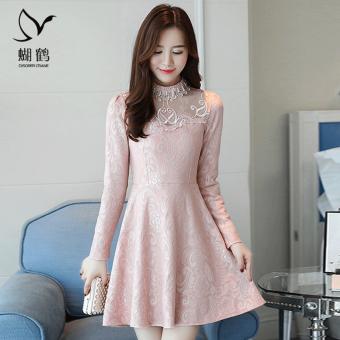 Korean-style mesh autumn New style a word skirt dress (Black) (Black) - 2