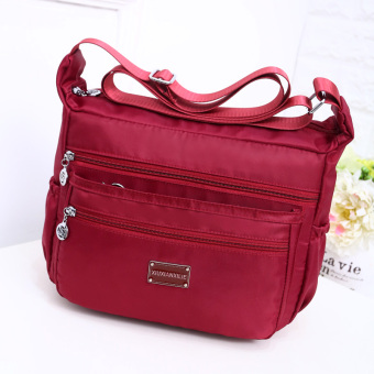 Korean-style new New style shoulder messenger bag waterproof nylon bag (Wine red color)