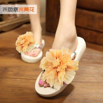 Koreanstyle New style seaside flowers beach slippers flipflops  Light yellow   Light yellow