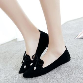 Korean-style New style spring and pointed shoes (Black)