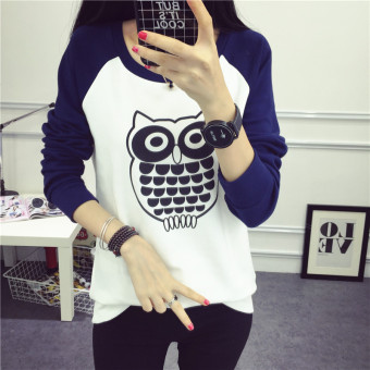Korean-style outerwear student versatile long-sleeved t-shirt heattech (8302 cat Head Eagle dark blue color)