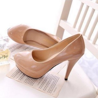 Korean-style patent leather round thin heeled semi-high heeled shoes Shoes (M beige)