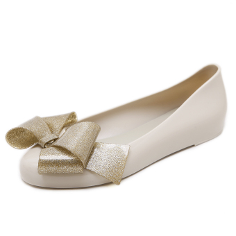 Korean-style round flat heel foot covering waterproof women's shoes bow shoes (Beige)