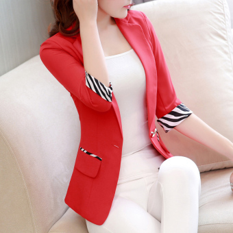 Korean-style Slim fit three-quarter-length sleeve Plus-sized suit short jacket (Red)
