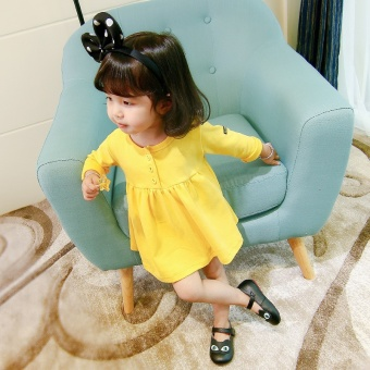 Korean-style solid color Spring and Autumn New style baby skirt girls dress (Yellow) (Yellow)