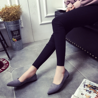Korean-style spring and New style pointed flat shoes (Gray)