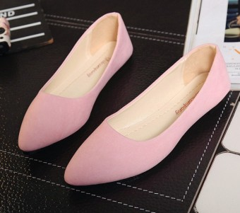 Korean-style spring and New style pointed flat shoes (Pink)