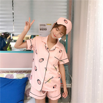 Korean-style summer Fold-down collar short sleeved pajamas (Strawberry 5 NO.) (Strawberry 5 NO.)