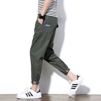 Korean-style Teenager Slim fit skinny harem pants ankle-length pants (Dark green color)