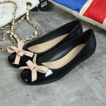 Korean-style Women's Easy Square Head Square Buckle Shallow Mouth Flat Shoes (Black Cooljie)