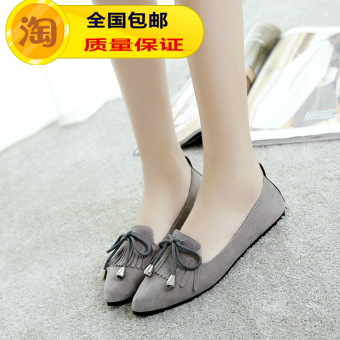 Korean-style Women's Pointed Toe Shallow Mouth Tassel-decorated Flat Shoes (Gray)