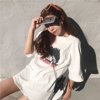 Korean version of the new short sleeve loose t-shirt women letter casual loose in the long section bottoming shirt student t-shirt t skirt tide