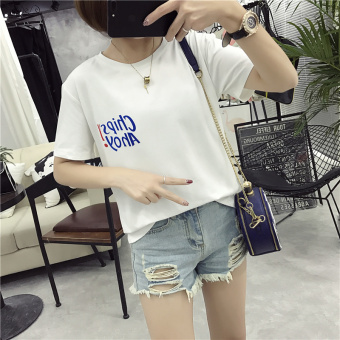 Lace New style Han Fan Slim fit Slimming effect cottonshort-sleeved t-shirt (903 white)