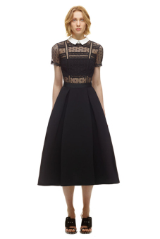 Lace porous high-waisted slimming black dress