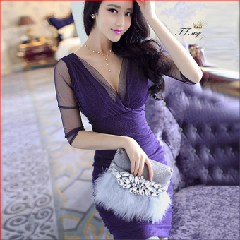 Ladies Nightclub package hip Slim fit lace dress