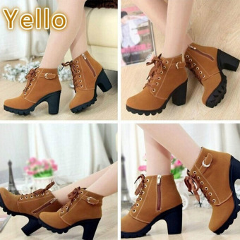 LALANG Women Boots Thick With High Heeled Bandage Martin Shoes (Yellow) - intl