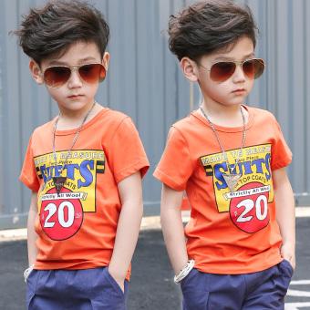 Large boys 5 cotton short-sleeved summer bottoming shirt T-shirt (Orange color) (Orange color)